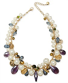 "Gold-Tone Imitation Pearl, Flower Coin & Bead Statement Necklace, 17"" + 2"" extender, Created For Macy's"
