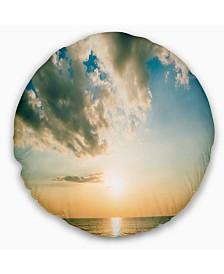"Designart Clouds Together Over Blue Seashore Seascape Throw Pillow - 16"" Round"