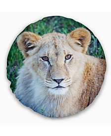 "Designart Large Lion Relaxing in Forest African Wall Throw Pillow - 16"" Round"