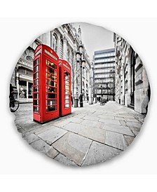 """Phone Booths on Street Cityscape Throw Pillow - 20"""" Round"""