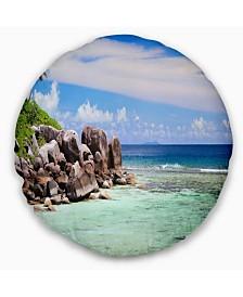 "Designart Beautiful Seychelles Rocky Coast Landscape Printed Throw Pillow - 20"" Round"