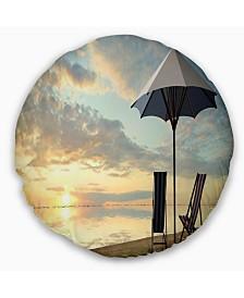 "Designart Deck Chairs and Umbrella on Beach Modern Seascape Throw Pillow - 20"" Round"