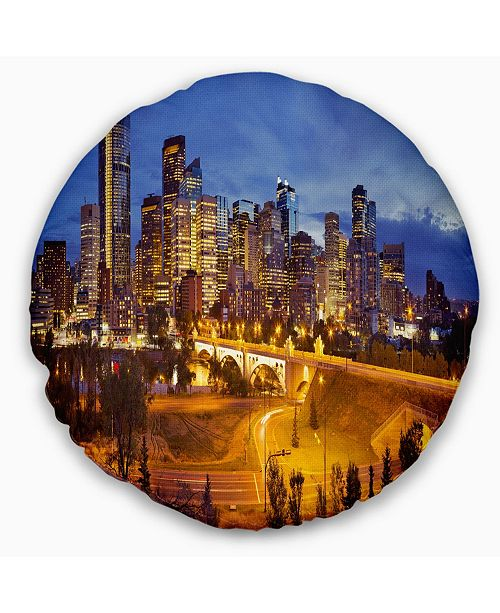 Design Art Designart Skyline Of Calgary At Night Panorama Modern Cityscape Throw Pillow 20 Round Reviews Decorative Throw Pillows Bed Bath Macy S