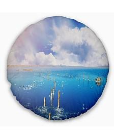 "Designart Blue Salt Lake under Clouds Seascape Throw Pillow - 20"" Round"