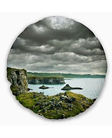 "Designart Icelandic Coast under Dark Clouds Seashore Throw Pillow - 20"" Round"