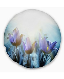 """Designart Blooming Blue Spring Flowers Floral Throw Pillow - 20"""" Round"""