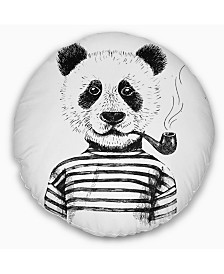 "Designart Hipster Pandas Black and White Animal Throw Pillow - 20"" Round"