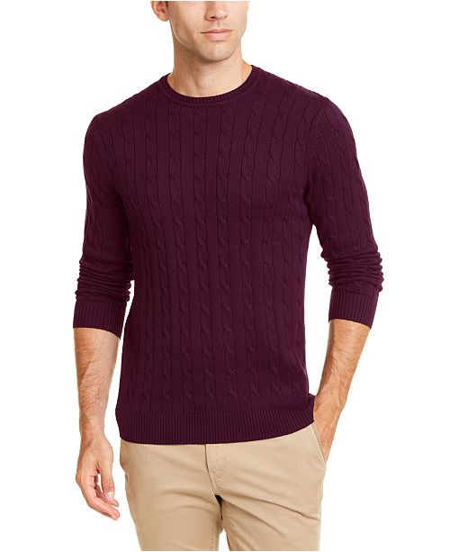 Club Room Men's Cotton Cable Crewneck Sweater, Created for Macy's