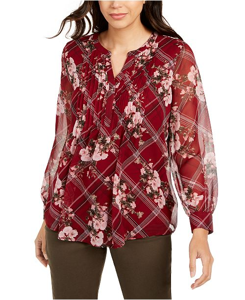Charter Club Petite Mixed-Print Split-Neck Top, Created for Macy's
