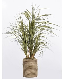 """Laura Ashley 30"""" Tall Plastic Grass Artificial Indoor/ Outdoor Faux Decor in Rope Vase"""