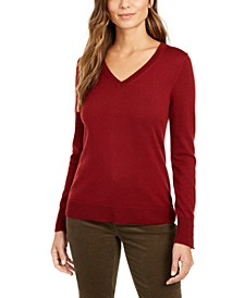 Merino Wool Button-Cuff V-Neck Sweater, Created for Macy's