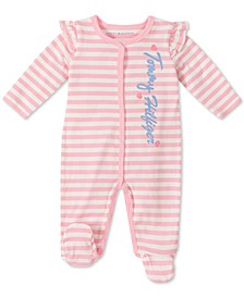 Baby Girls Cotton Striped Coverall