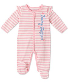 Tommy Hilfiger Baby Girls Cotton Striped Coverall