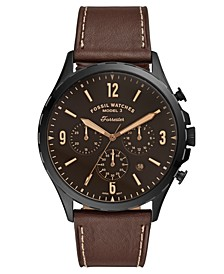 Men's Chronograph Forrester Brown Leather Strap Watch 46mm