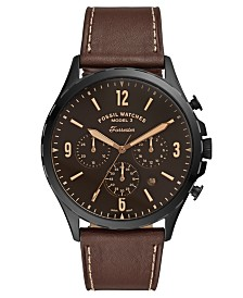 Fossil Men's Chronograph Forrester Brown Leather Strap Watch 46mm