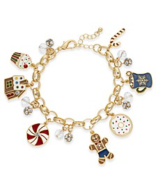 Gold-Tone Crystal & Bead Sweets Charm Bracelet, Created For Macy's