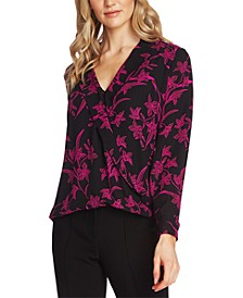 Printed Notch-Collar Surplice Top