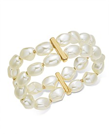 Gold-Tone Imitation Pearl Double-Row Stretch Bracelet, Created For Macy's
