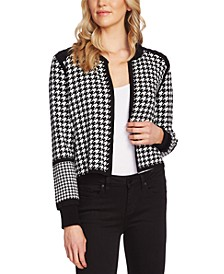 Cotton Houndstooth Sweater Jacket