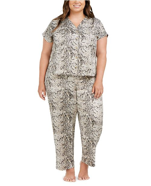 INC International Concepts INC Plus Size Printed Pajamas Set, Created For Macy's