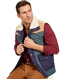 Men's Quilted Colorblocked Vest with Fleece-Lined Collar, Created For Macy's