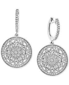 EFFY® Diamond Cluster Disc Drop Earrings (5/8 ct. t.w.) in 14k White Gold