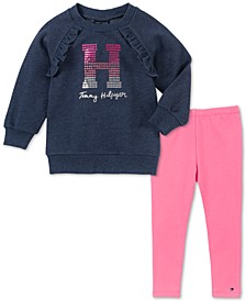 Little Girls Ruffled Sweatshirt & Leggings Set