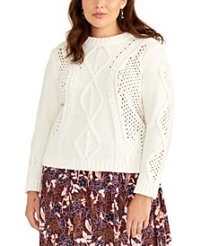 Trendy Plus Size Adrina Mixed-Cable Sweater