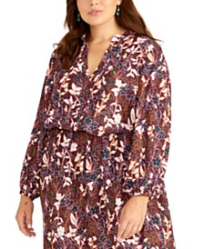 RACHEL Rachel Roy Trendy Plus Size Floral-Print Top