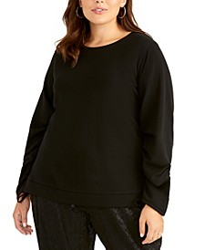 Trendy Plus Size Liya Drawstring-Sleeve Sweatshirt
