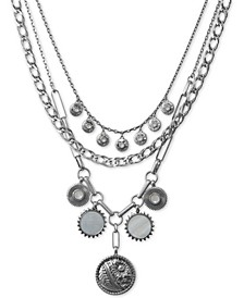 """Silver-Tone Layered-Chain Statement Necklace, 17""""- 21"""""""