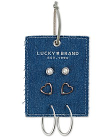 Lucky Brand Two-Tone 3-Pc. Set Crystal, Stone & Imitation Pearl Earrings