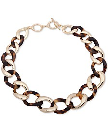 "Lauren Ralph Lauren Gold-Tone & Tortoise-Look Link 18"" Collar Necklace"