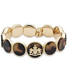 Lauren Ralph Lauren Gold-Tone & Tortoise-Look Crest Stretch Bracelet