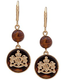 Lauren Ralph Lauren Gold-Tone & Tortoise-Look Crest Double Drop Earrings