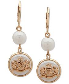 Gold-Tone Crest Double Drop Earrings