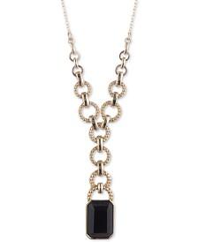 "Lauren Ralph Lauren Gold-Tone Studded Link & Stone Lariat Necklace, 18"" + 3"" extender"