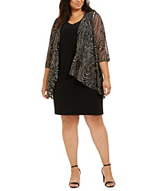 Plus Size Printed Mesh Jacket & A-Line Dress
