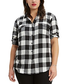 Plus Size Plaid Fleece Shirt
