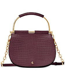 Lauren Ralph Lauren Croc Embossed Leather Mason Satchel