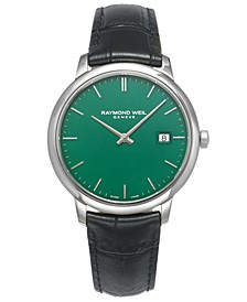 LIMITED EDITION Swiss Toccata Black Leather Strap Watch 39mm, Created for Macy's