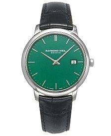 LIMITED EDITION RAYMOND WEIL Swiss Toccata Black Leather Strap Watch 39mm, Created For Macy's