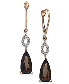 Smoky Quartz (3-1/2 ct. t.w.) & Diamond (1/6 ct. t.w.) Drop Earrings in 14k Rose Gold