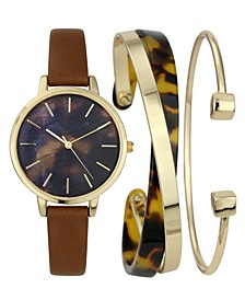 INC Women's Brown Faux-Leather Strap Watch 35mm & Cuff Bracelets Set, Created for Macy's