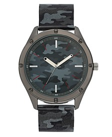 INC Men's Gray Camo Stainless Steel Mesh Bracelet Watch 45mm, Created For Macy's