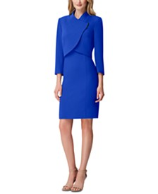 Tahari ASL Cropped-Jacket Dress Suit