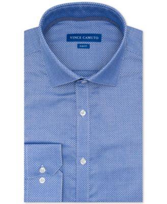 Vince Camuto Mens Slim Fit Spread Comfort Collar Dress Shirt
