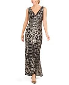 R & M Richards Petite Gold-Tone Sequin Gown
