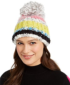 INC Striped Mega-Pom Beanie, Created for Macy's