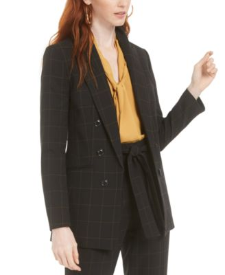 Faux-Double-Breasted Windowpane-Print Jacket, Created for Macy's